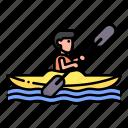 canoe, kayak, kayaking, people, rafting, sports, transportation