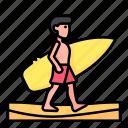 beach, man, people, summer, sun, surf, surfer