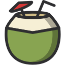 coconut, cocktail, food, juice, fruit, drinking icon
