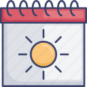 appointment, calendar, reminder, schedule, summer, sun, sunny icon