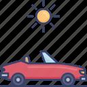 automobile, car, sun, sunny, transport, transportation, vehicle icon