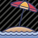 beach, holiday, island, parasol, sea, vacation, water icon
