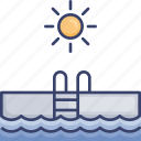 facilities, ladder, pool, sun, sunny, swim, swimming icon