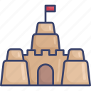 activity, beach, build, holiday, sand, sandcastle icon