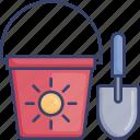 beach, bucket, game, shovel, sun, toy icon