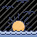 birds, ocean, sea, sun, sunrise, sunset, water