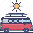 automobile, sun, sunny, transport, transportation, van, vehicle icon