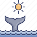 ocean, sea, sun, sunny, tail, whale, wildlife icon