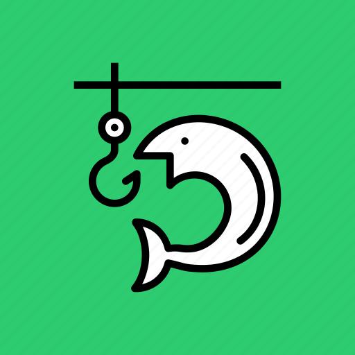 camping, fish, fishing, holiday, hook, vacation, water icon