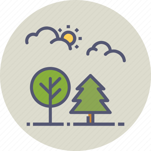 forest, nature, outdoors, park, sun, trees, wood icon