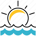decline, sundown, sea, sun, dawn icon