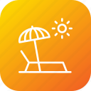 beach, relax, seaside, summer, sun, sunbath, umbrella icon