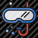 snorkel, goggle, diving, mask, sea