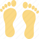 footfalls, footmarks, footprints, footsteps, human footprints icon