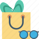 beach bag, flip flops, summer, summertime, sunglasses icon
