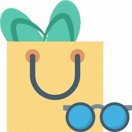 beach bag, flip flops, summer, summertime, sunglasses icon