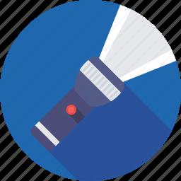 camping, flashlight, light, pocket torch, torch icon