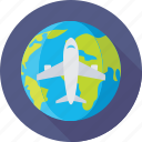 aeroplane, globe, trip, world, world tour icon