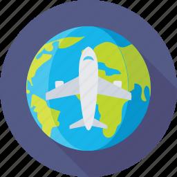aeroplane, globe, trip, world, world tour icon