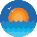 beach, morning, nature, sea, sunrise icon