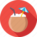 beach drink, beverage, coconut, coconut water, drink icon