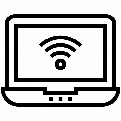 internet, laptop, notebook, signals, wifi connected icon