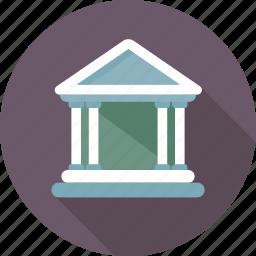 bank, building, columns building, court, museum icon