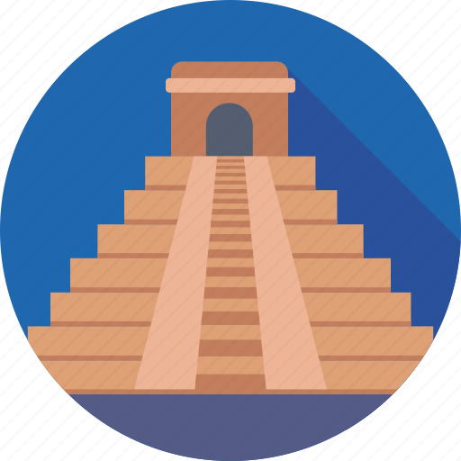 famous places, landmark, mayan pyramid, mexico, monument icon