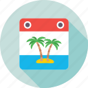 beach, card, palm, palm tree, vacations icon