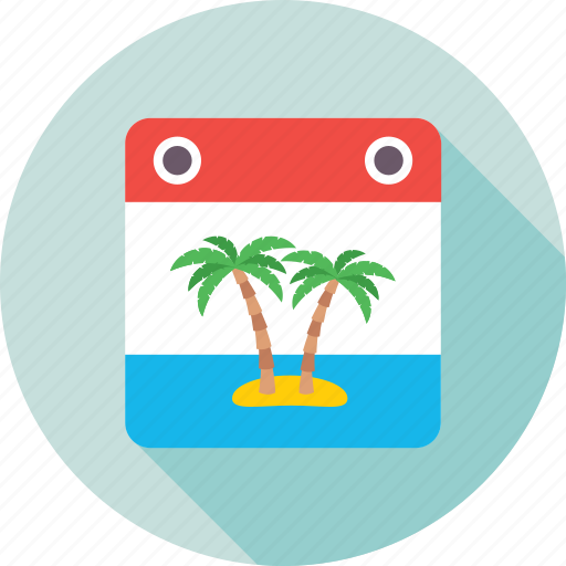 beach, card, palm, palm tree, vacations icon