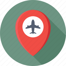 airport, location pin, map, map pin, navigation icon