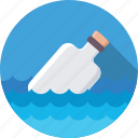 bottle, ocean, sea, water, waves icon