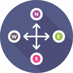 cardinal points, east, north, south, west icon