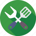 cooking, fork, kitchen utensils, spatula, turner icon