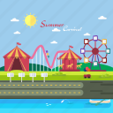 background, carnaval, carousel, circus, ferris wheel, roller coaster, summer