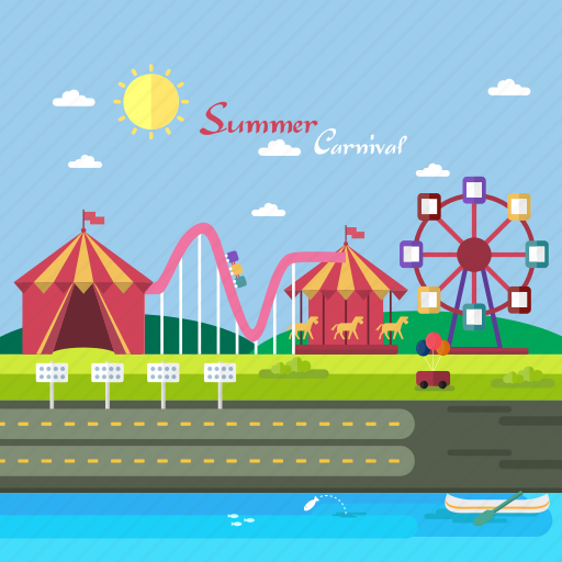 Background, carnaval, carousel, circus, ferris wheel, roller coaster, summer icon - Download on Iconfinder