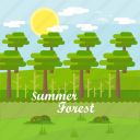 background, forest, grass, sky, summer, sun, tree icon