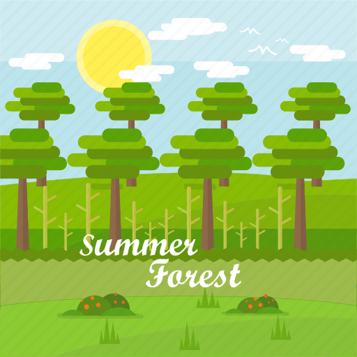 Background, forest, grass, sky, summer, sun, tree icon - Download on Iconfinder