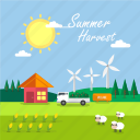 background, corn, harvest, sheep, summer, sun, windmill icon