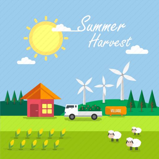 background, corn, harvest, sheep, summer, sun, windmill icon