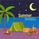background, beach, camping, holiday, night, palm, summer icon