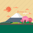 background, hill, japan, mountain, sakura, summer, sun icon