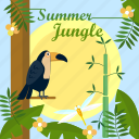 background, bird, jungle, leaf, summer, sun, tree icon