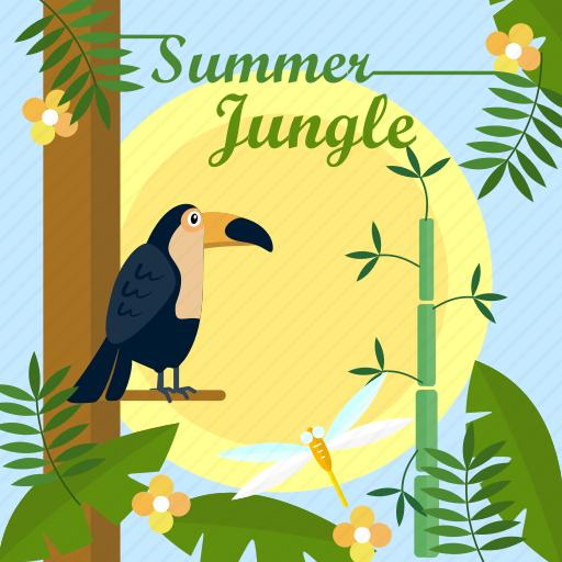 background, bird, jungle, leaf, summer, sun, tree icon