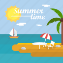 background, beach, boat, palm, summer, sun, time icon