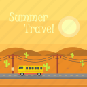 background, bus, cactus, hill, summer, sun, travel icon