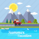 background, car, lake, mountain, summer, sun, vacation icon