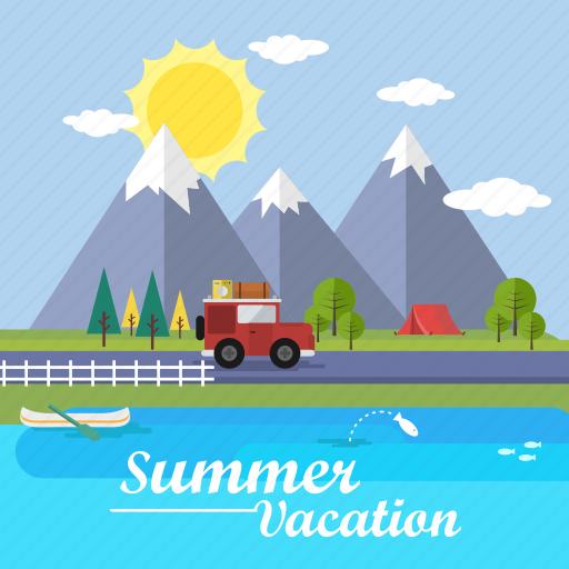background, car, lake, mountain, summer, sun, vacation icon