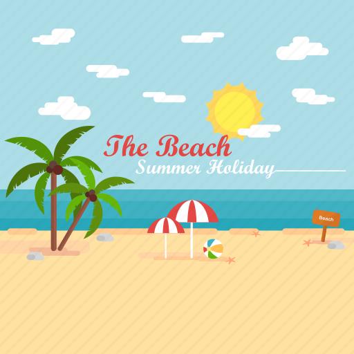 background, beach, holiday, palm, summer, sun, umbrella icon