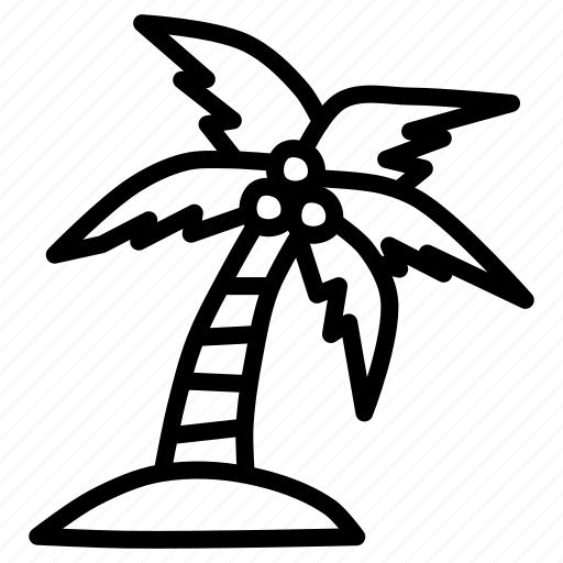 beach, coconut, island, tourism, tree, vacation, water icon